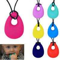Soft Silicone Kids Teardrop Pendant Baby Teething Bite Chew Necklace Teether Toy