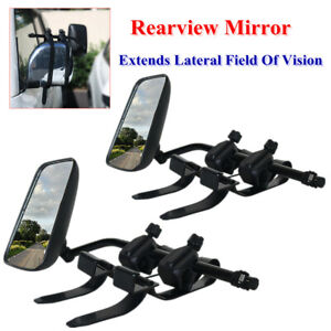1 Pair Trailer Towing Mirror Wide Field Glass Clip-on Extend Rearview View Fix