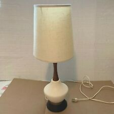 "MID-CENTURY CERAMIC TABLE LAMP WITH TEAK NECK – ORIGINAL SHADE – 21.25"" TALL"