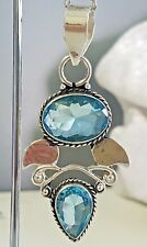 925 Sterling Silver Overlaid Blue Topaz Pendant with Chain