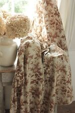 Antique French fabric brown lilac fabric c 1860's 1860 light weight cotton