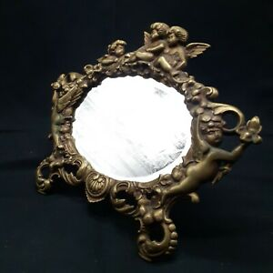 Vintage Brass Cherub Oval Beveled Mirror goldtone Angel Boudoir