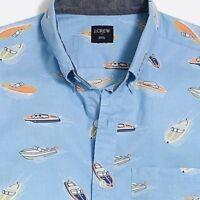 J Crew Mens Slim Fit Short Sleeve Printed Shirt Blue Coral Boats L M MSRP: 54.50