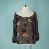 Joie Size Medium M Top Floral Print Off-the-shoulder Long Sleeve Pullover Blouse