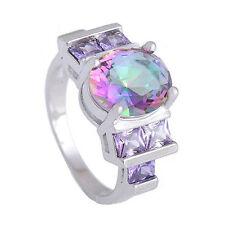 DF18 Iridescent Purple 6 Carat Zircon Statement 925 Silver Plated Ring