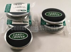 "4 Land Rover Range Rover 2.5"" Black with Green Oval Center Caps Hub Caps 63mm"