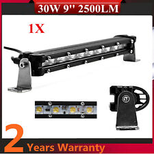 1X 9inch 30W Single Row LED Light Bar Slim 5D Lens Fits Jeep Bumper Ford Chevy