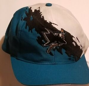 90s VTG San Jose SHARKS Logo Athletic Snapback Hat Cap NHL Teal WRITING ON HAT