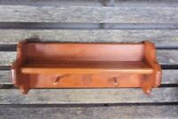 Handcrafted Wood Shelf with Plate Groove and Pegs, Wall Coat Rack, Country Decor