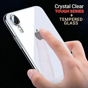 Case for iPhone 11 Pro Max 7 Plus XR XS 5silicone gel and Tempered Glass Screen