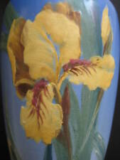 "Antique Weller 10"" Vase~blue~hand painted~signed HP Hester Pillsbury~Script"