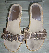 WOMENS CLARKS Brown Leather/Rubber Slip-On /Mules Sandals Size:5/38(WHS100)