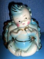 Vintage Baby Boy Blue Pillow Planter Hull 92 Rosy Cheeks & Rattle Gold Trim R1