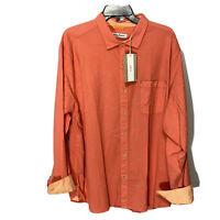 $110 Tommy Bahama Mens L/S Shirt XL Coral Corvair Stretch Beach Flip Cuff