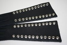"""Heavy Duty Black Leather Motorcycle Clutch Brake Lever covers eyelets 20"""" Fringe"""