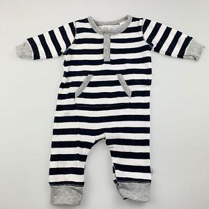 Boys size 000, Bebe by Minihaha, navy stripe cotton romper, FUC