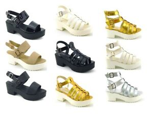WOMENS STRAPPY LADIES CUT OUT SUMMER GLADIATOR BLOCK HEEL SANDALS SHOES SIZE
