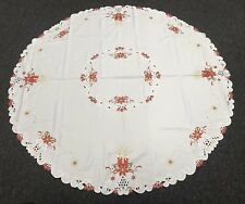 "White Christmas Embroidered 72"" Round Fabric Embroidery Tablecloth 8 Napkins"