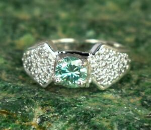 3.36 Ct  Green Diamond Solitaire Round Great Bling Men's Ring With Accents