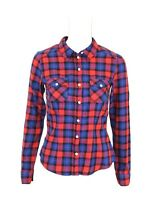 Women's Girls Check Casual Shirt Blouse H&M Long Sleeve Fitted Cotton