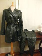 VERICCI Silver/Gray/Green ton  Leather Jacket & Pantsuit USA women's M stunning
