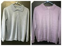 VINTAGE HABAND PURPLE BLUE COLLARED POLO  SWEATER LOT  EMBROIDERED FLORAL L