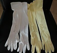 """Vintage Long Gloves YELLOW WHITE Pearl Buttons FORMAL Small Size 23.5"""" long"""