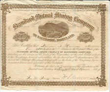 MARYLAND Standard Mutual Mining Co of Baltimore Stock Certificate 1887 #29
