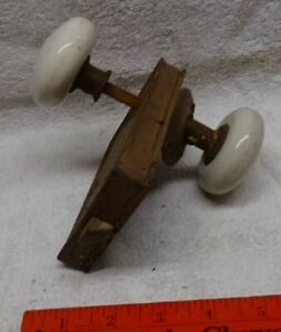 ** ANTIQUE -- DOOR LOCK with PORCELAIN KNOBS -- RHC -- USA made **