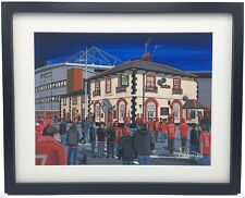More details for wrexham f.c racecourse ground stadium high quality framed art print. approx a4.