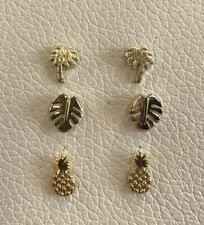 Fashion Ladies Petite Tropical Collection  gold plated earring set of 3