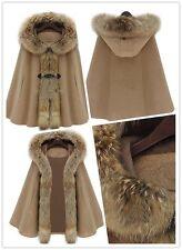 Fashion Women Casual Coat Outwear Fur Collar Hooded Cape-style Overcoat Cloak S