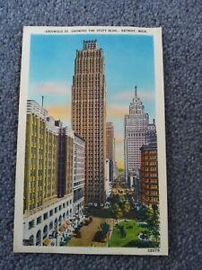 Griswold Street Showing The Stott BLDG, Detroit, Michigan, 1940's. Linen.