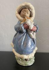 Lladro Porcelain Figurine Keep Me Warm Eskimo Girl Holding Puppy Retired #12419