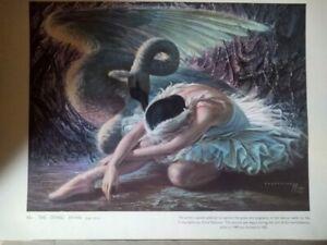 RARE Original 1952 ALICIA MARKOVA Tretchikoff Print THE DYING SWAN Ballet RETRO