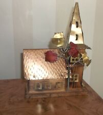 Vintage Wood & Metal Art Sculpture Music Box Old Time Church Sculpture-Very Nice