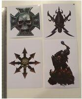Warhammer 40K STICKERS x 4 - Dark Eldar, Chaos, Space Marines