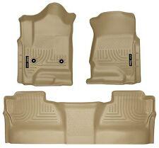 Husky Liners WeatherBeater Floor Mats- 3pc- 98233- Silverado/Sierra Crew Cab-Tan