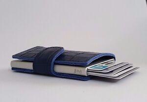 Genuine Leather Mens Smart Business Wallet Credit Cards/ Money Holder - Blue