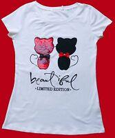 t-shirt maglietta donna ragazza cotone applicazione paillets gatti taglia L/XL