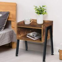 Wood End Side Bedside Table Industrial Nightstand Living Bedroom Storage Drawer
