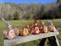 VTG 5 Mid Century Angel Egg Carton Christmas Ornament Painted Face Tinsel Lot