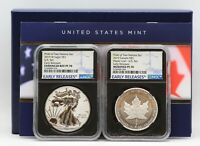2019 Pride of Two Nations Silver Eagle Maple Leaf Set NGC PF70 ER OGP Signed COA