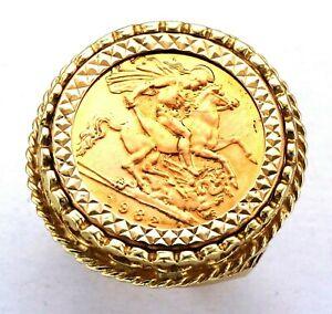 9ct Gold Mounted 1982 Queen Elizabeth II Half Sovereign Coin Round Bezel Ring