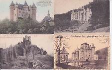 Lot 4 cartes postales anciennes CANTAL châteaux