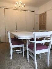 White Painted Extending Dining Table With 6 Chairs -  Ducal