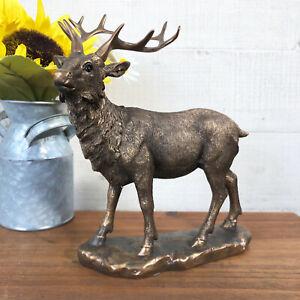 Vintage Bronze Effect Resin Stag Deer Reindeer Sculpture Figurine Ornament Small