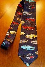 Lot's Of Old Chevy's Car's All Over A New Navy Blue 100% Polyester Neck Tie! #2