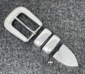 """Chet Vogt 4-piece Sterling Silver 1"""" Western Ranger Belt Buckle Set"""