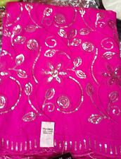 """Poly Tafetta Silver Sequins Floral Laces Bright Shocking Pink Color 48"""" 5 Yrds"""